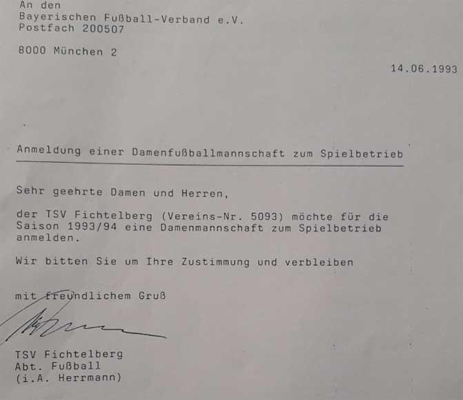 TSV Fichtelberg - Anmeldung Damenmannschaft 1993