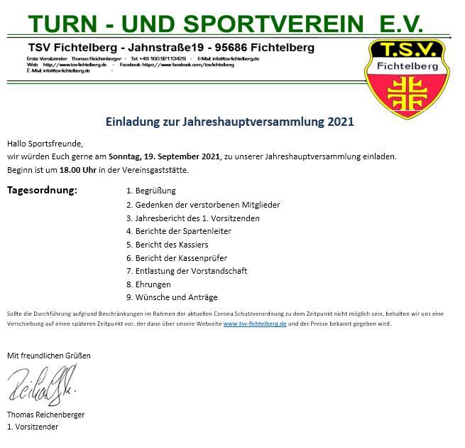 TSV Fichtelberg - Jahreshauptversammlung 2021